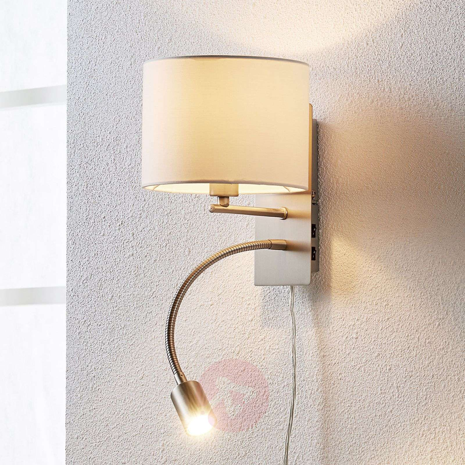 Florens fabric wall lamp with led reading lamp lights florens fabric wall lamp with led reading lamp 9620921 03 aloadofball Image collections