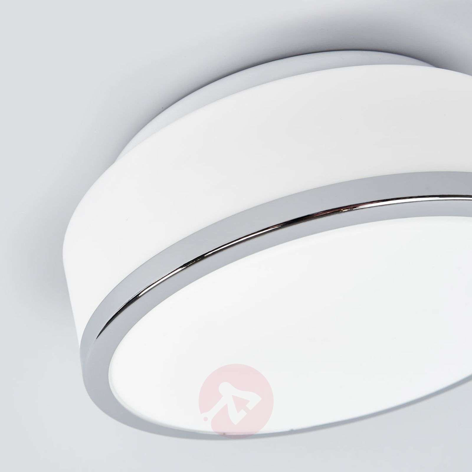 Flush elegant ceiling light, chrome, IP44, 23 cm-8570562-01