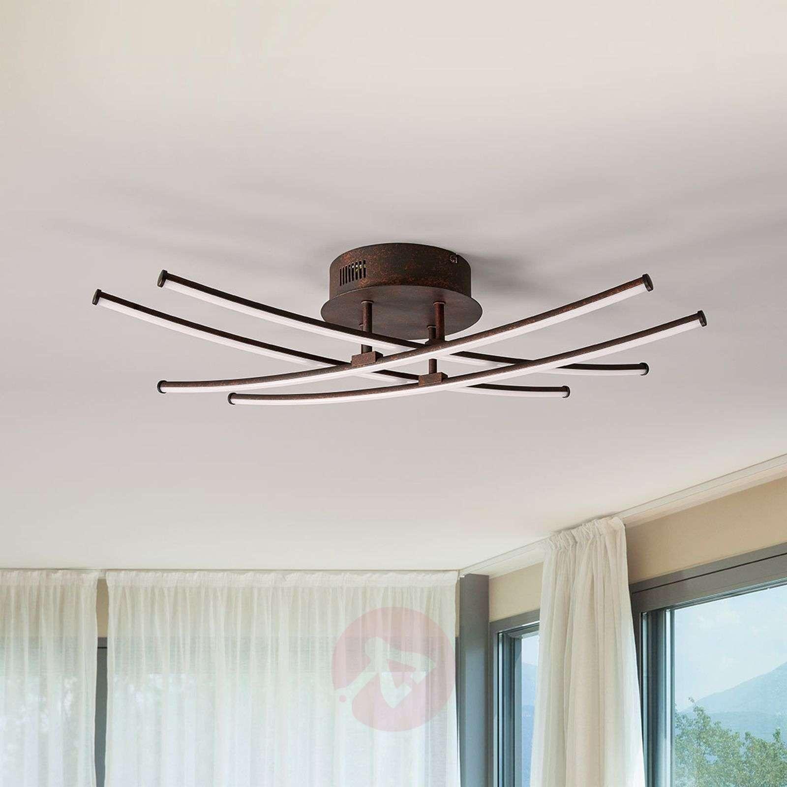 Four-bulb LED ceiling lamp Yael, rust-coloured-9639045-02