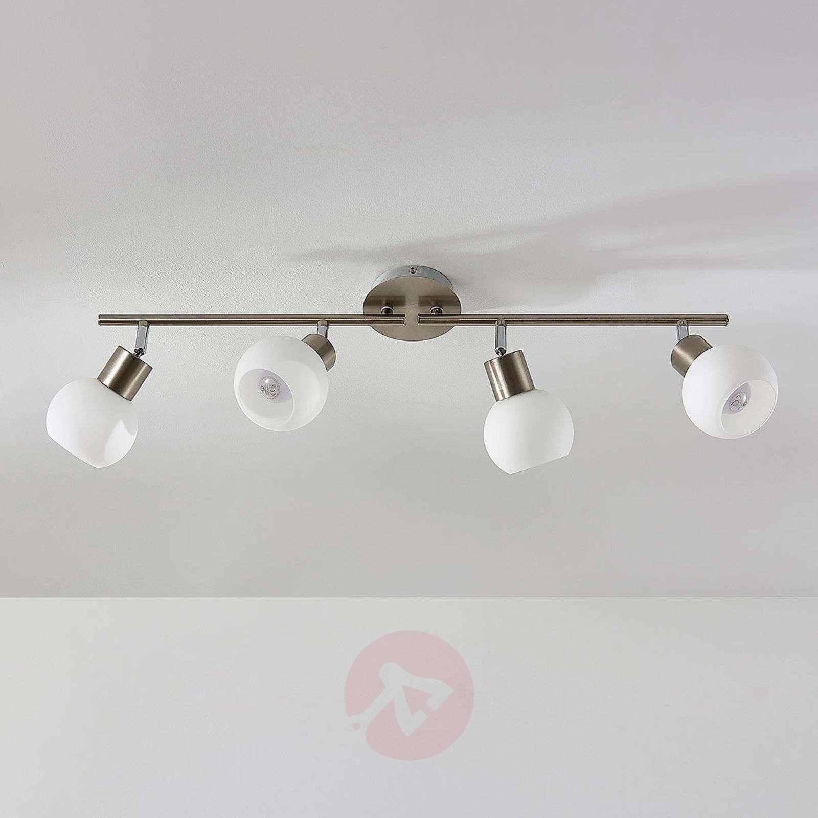 Four-bulb LED ceiling light Elaina, nickel matte-9620023-01