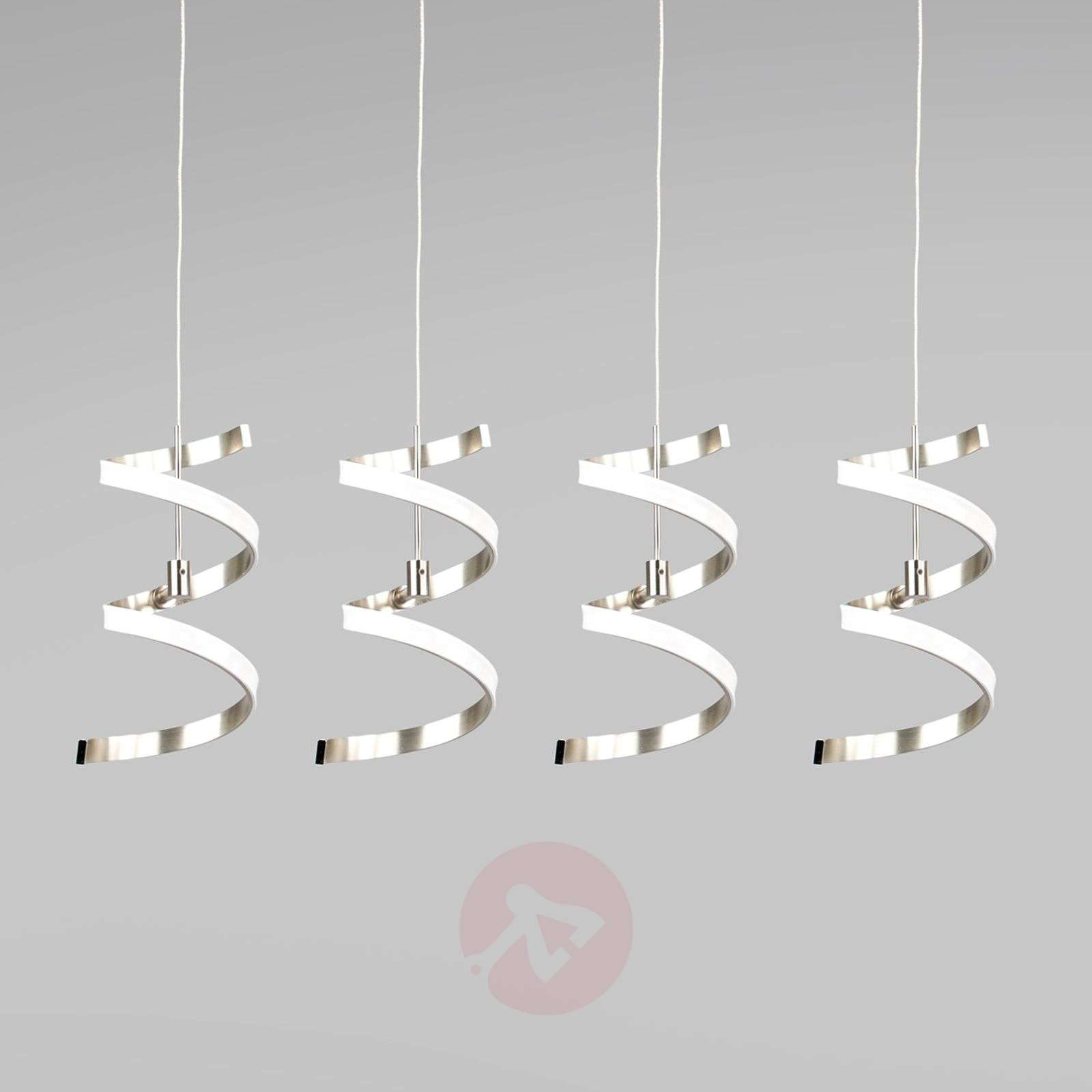 four bulb pierre hanging light with a spiral shape lights ie