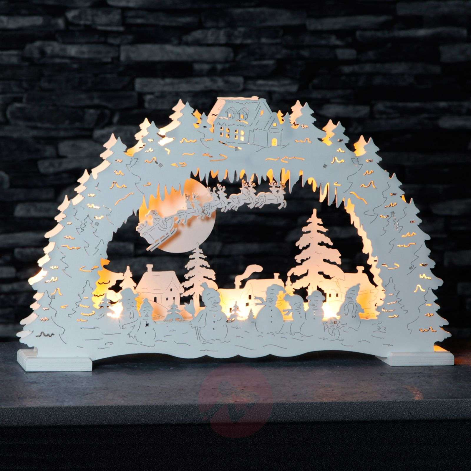 German Christmas LED candle arch in white-1522889-01