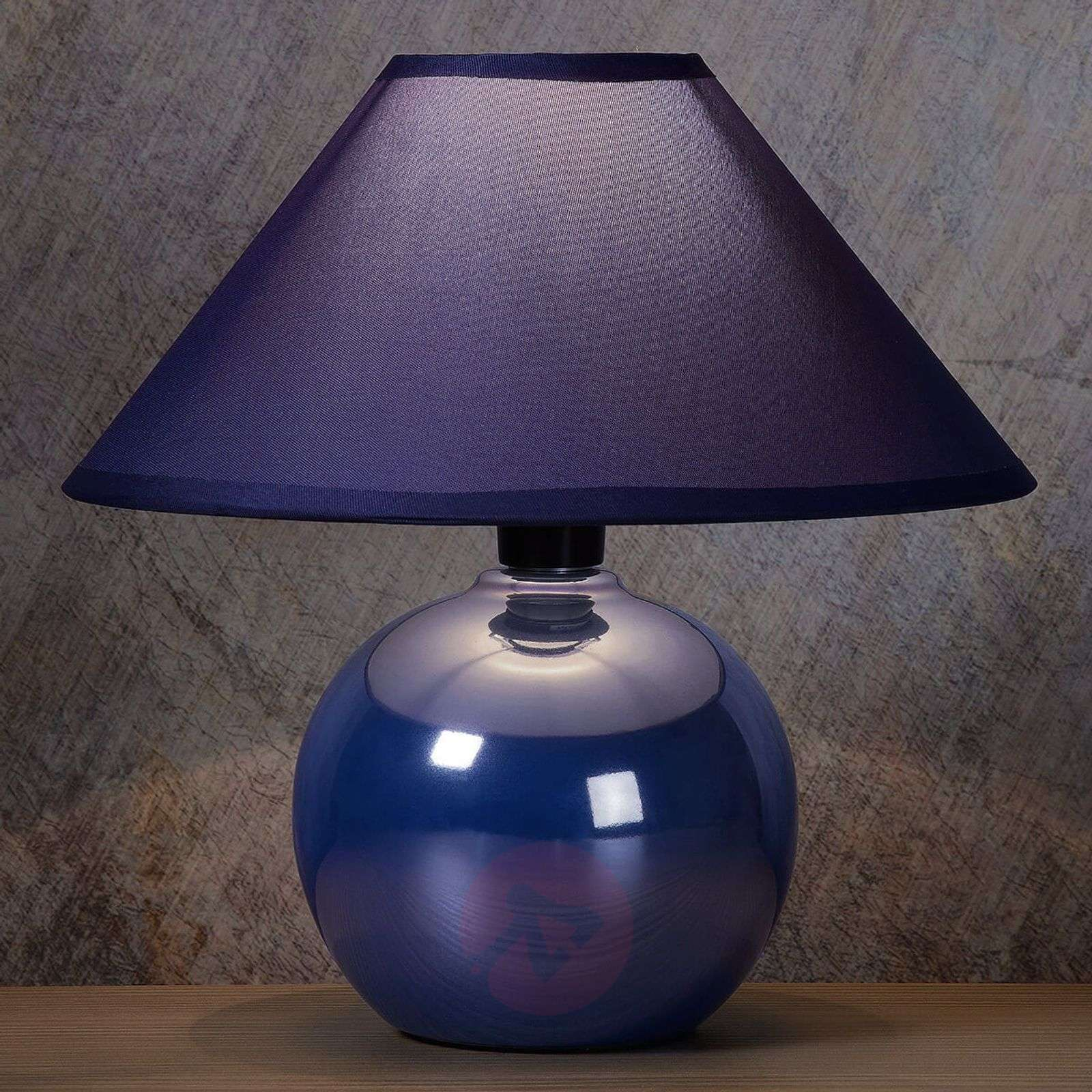 Glossy ceramic base blue Faro table lamp-6054945-02