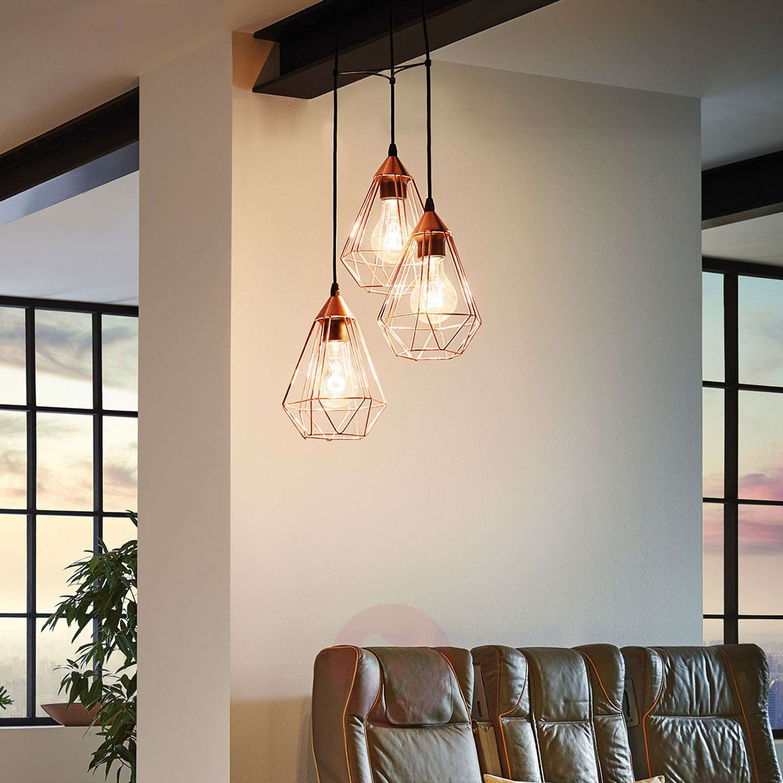 Glossy copper hanging light Tarbes 3-bulb-3031863-01