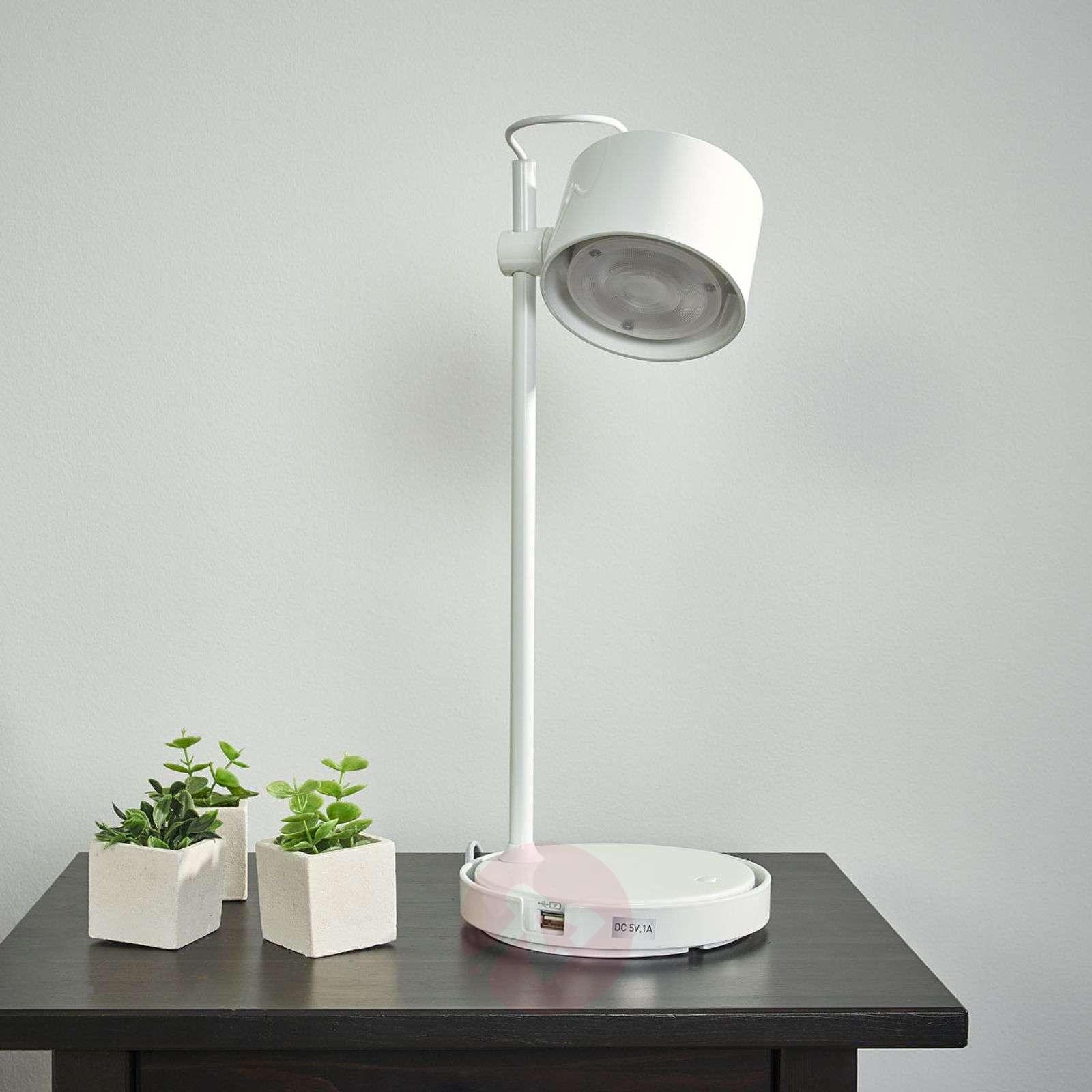 Glossy white LED iDual table lamp Jasmine-9038033-01