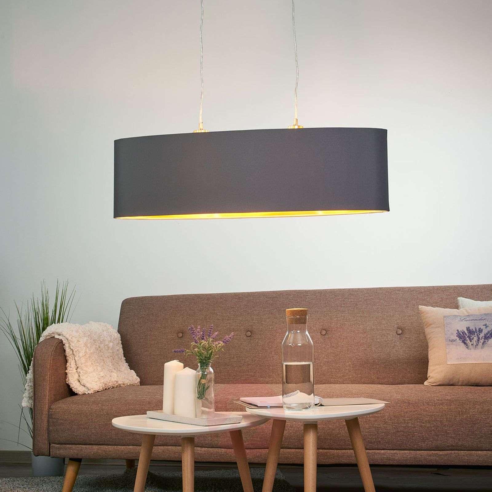 Gold-black fabric pendant light Lecio-3031697-01