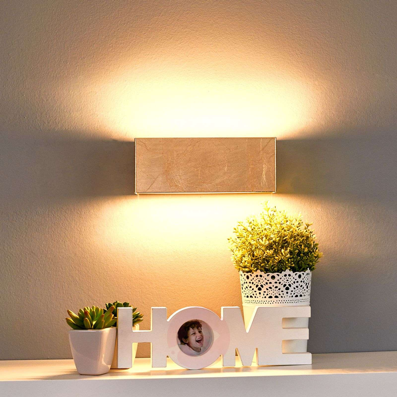 Gold-coloured LED wall lamp Quentin, 23 cm-9625071-03