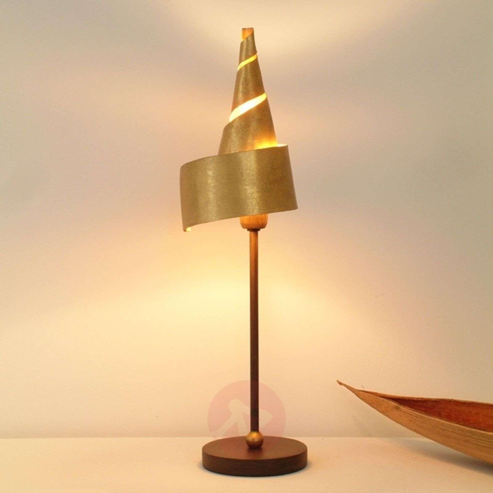 Golden table lamp ZAUBERHUT with metal shade-4512040-01