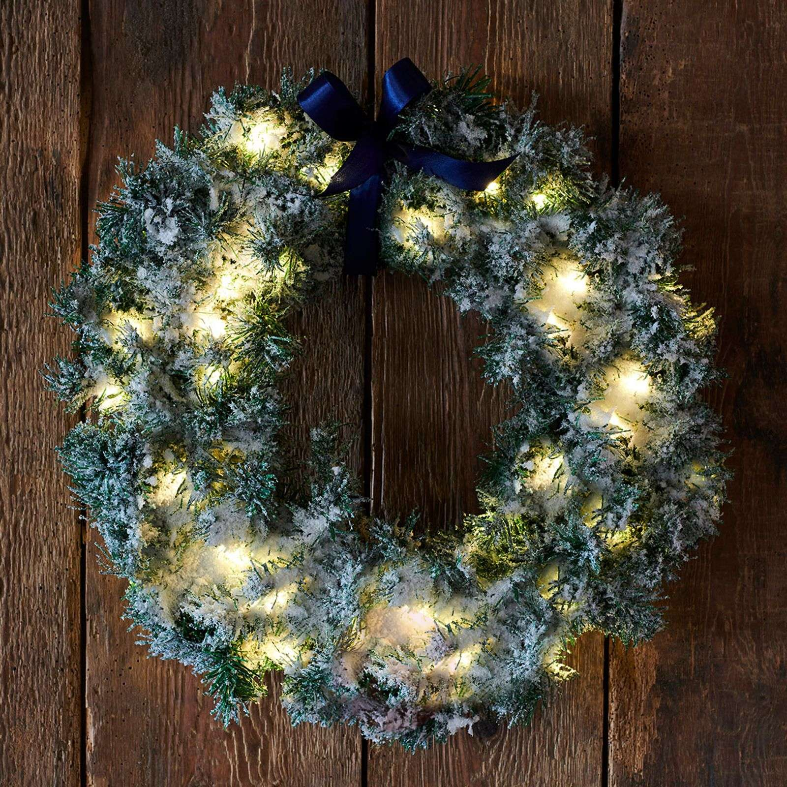 Green LED wreath Anton with timer-8577273-01