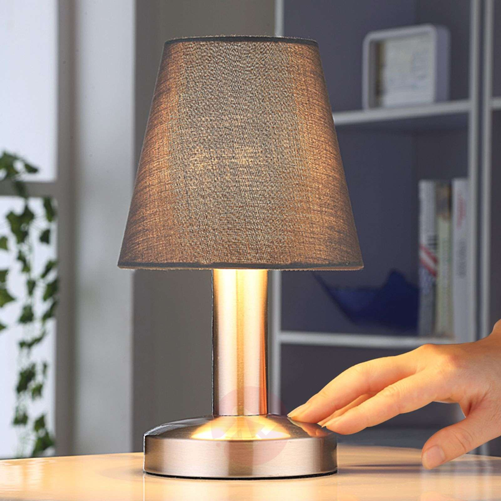 Grey bedside table lamp Hanno, fabric lampshade-9620811-01