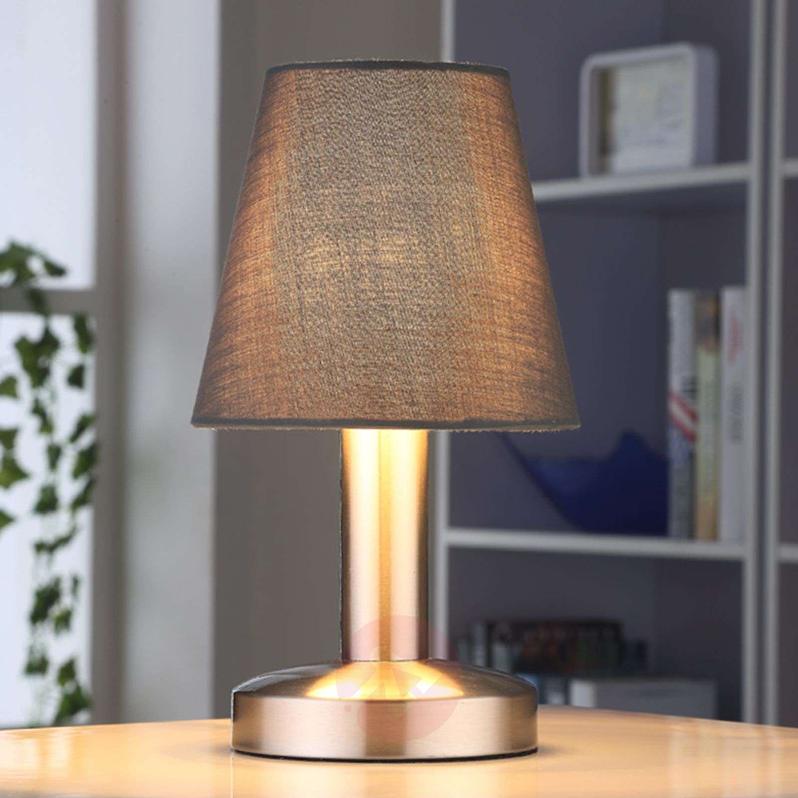 Grey bedside table lamp Hanno w. fabric lampshade-9620811-01