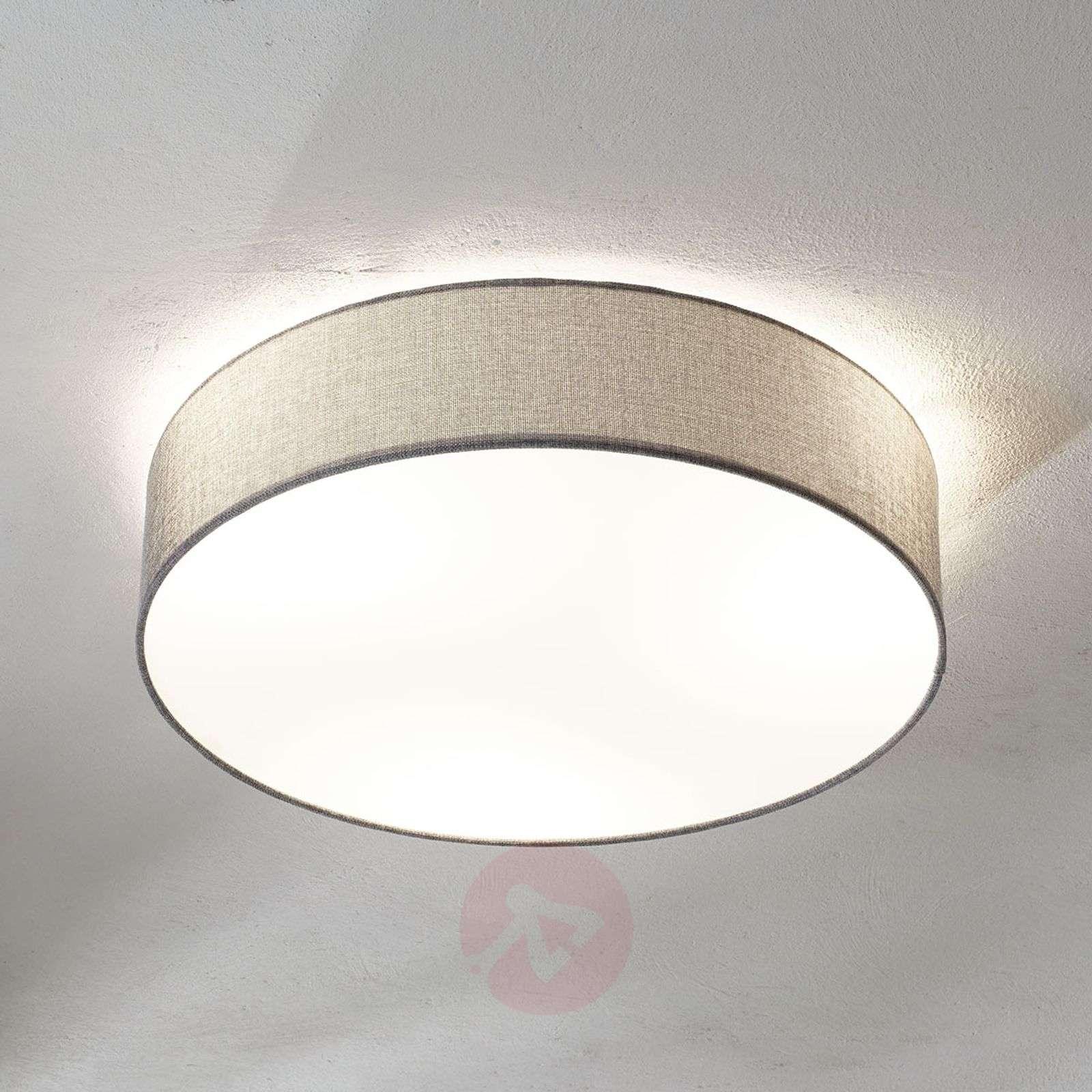 Grey Ceiling Lamp Pasteri Linen Lampshade 57 Cm