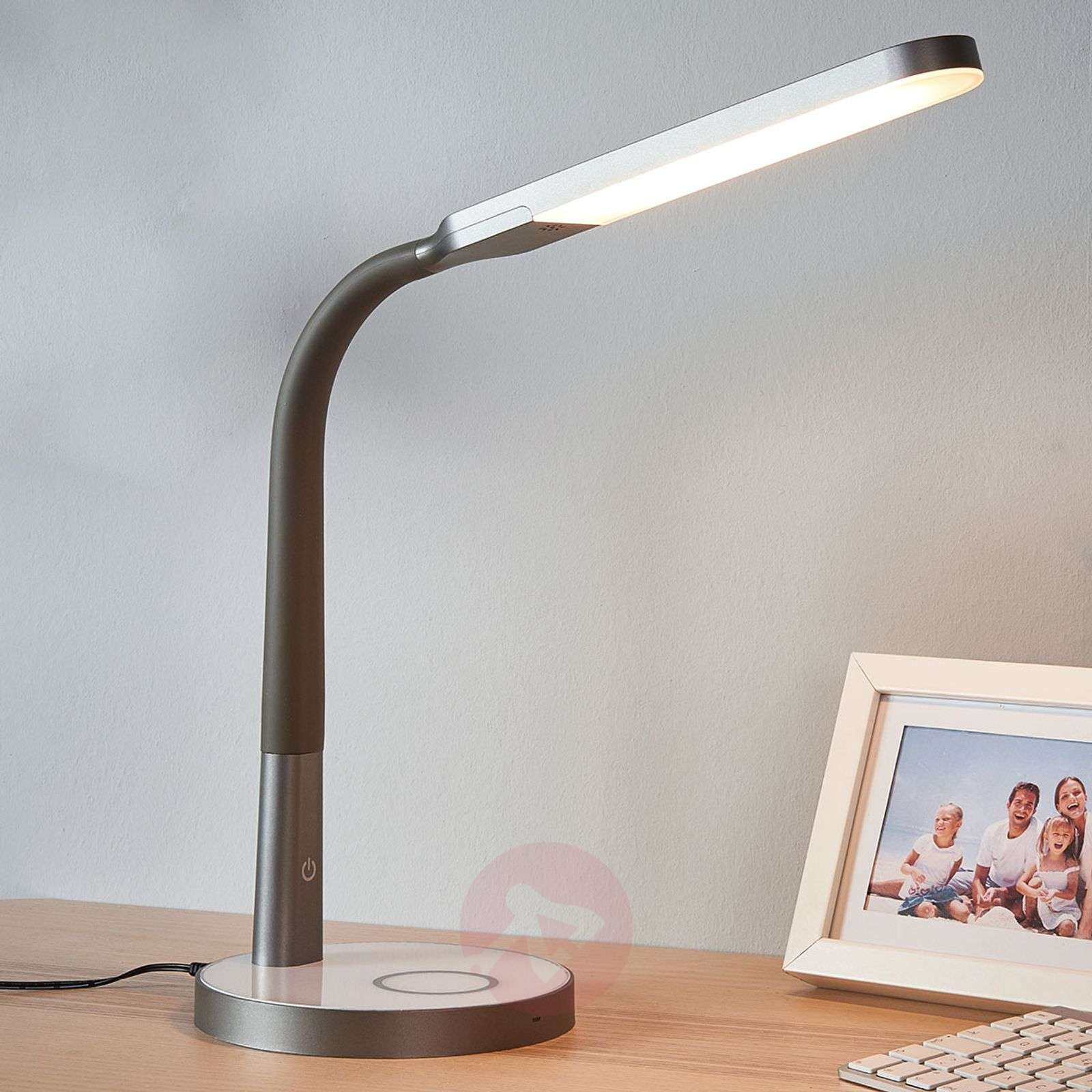 Grey LED desk lamp Maily, USB and dimmer-9643039-02