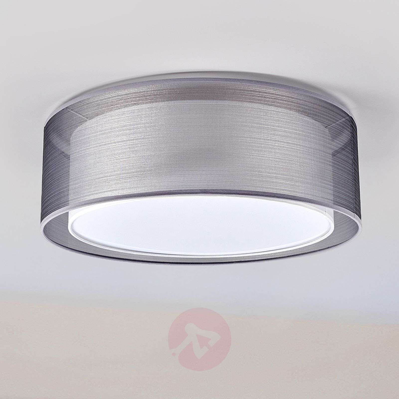 Grey Nica ceiling light with double fabric shade-4018005-03