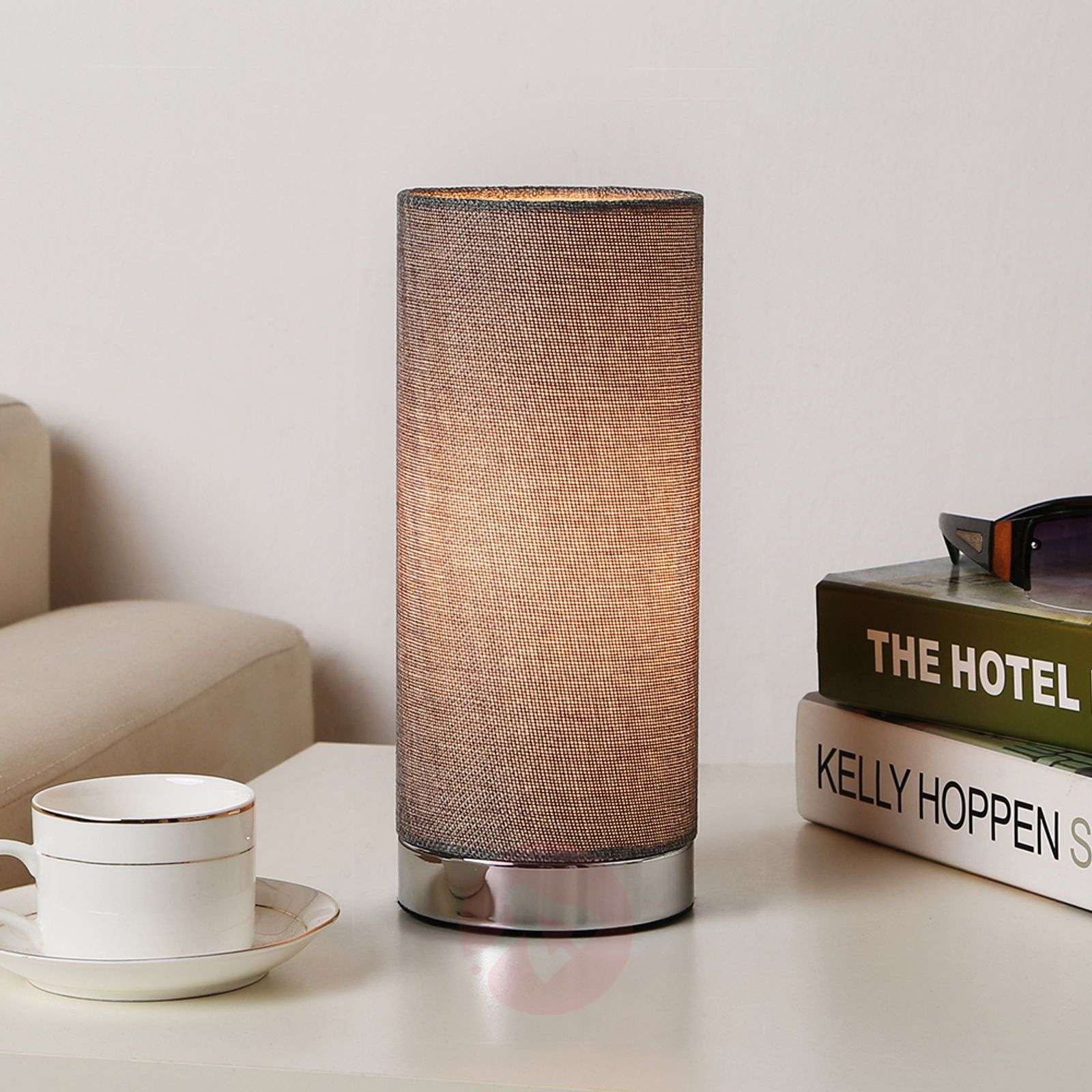 Grey table lamp Ronja with a chrome base-9620841-01