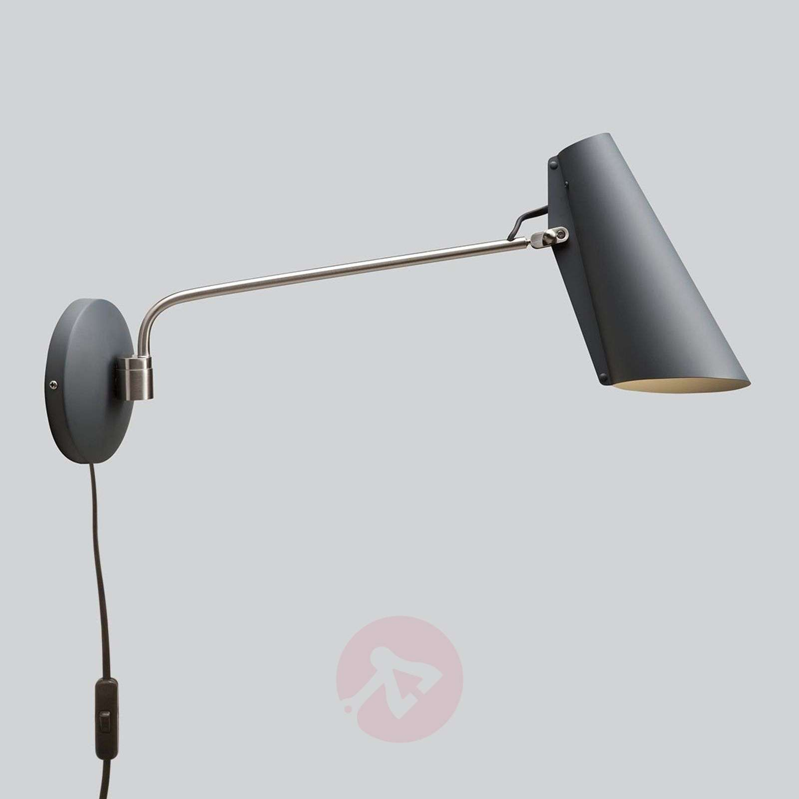 Grey wall light Birdy with plug and switch-7013105-01