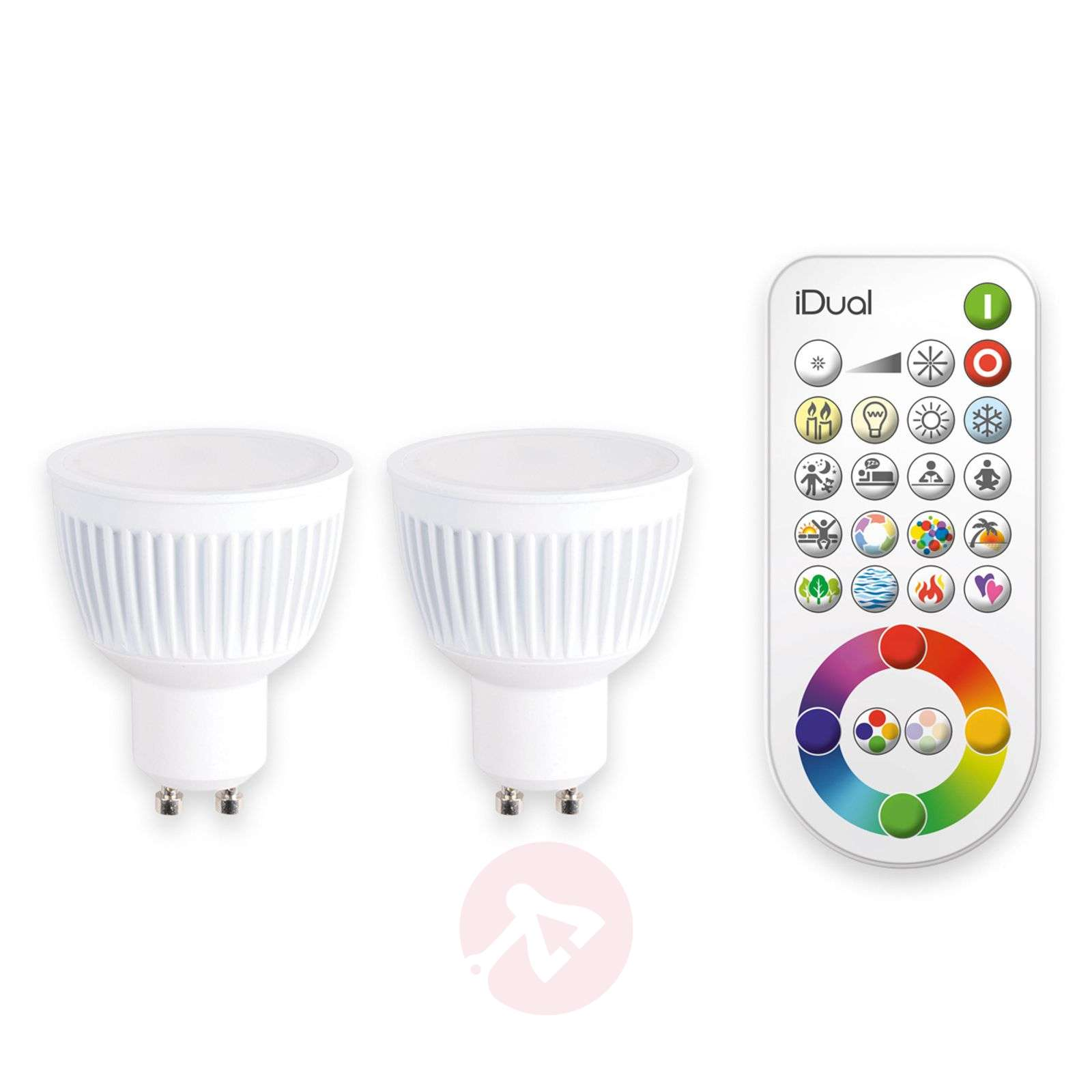 GU10 iDual LED bulb with remote control, set of 2-9038024-01
