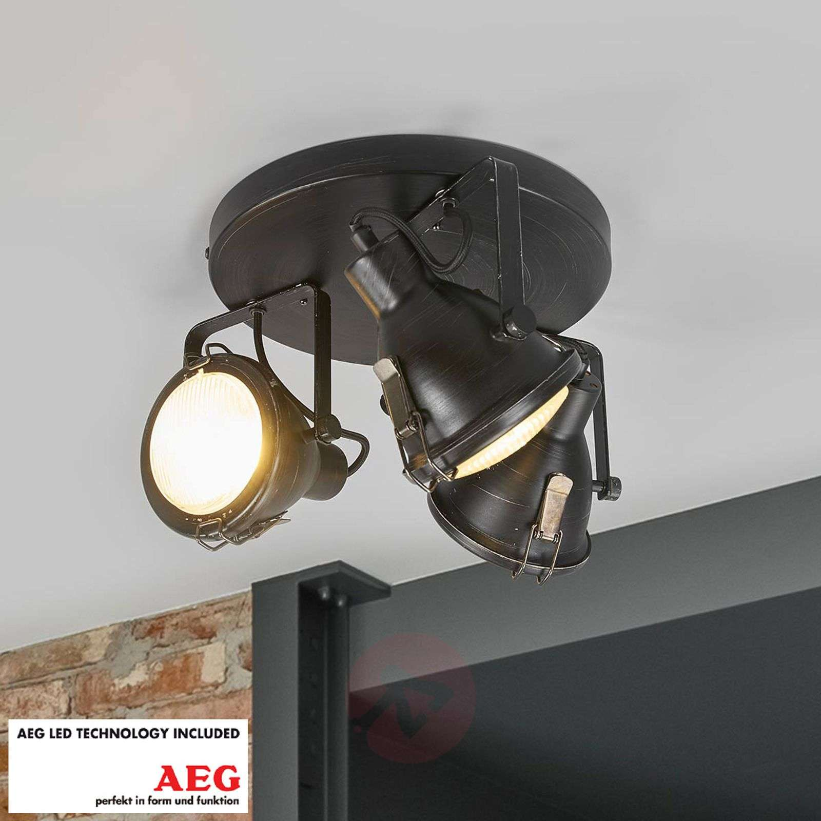 GU10 LED circular ceiling spotlight Arlen, black-1558061-02