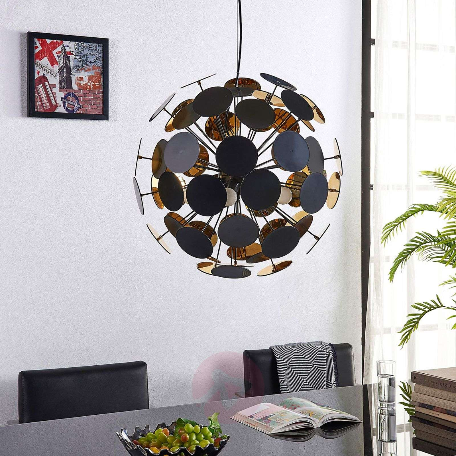 Hanging lamp Kinan with panes in black and gold-9621169-02