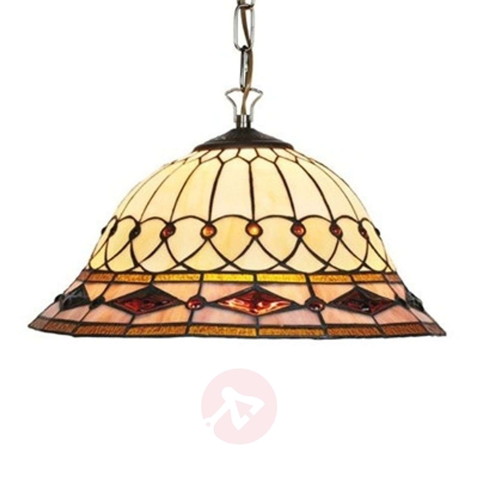 Hanging light Cassandra, Tiffany-style, 1-bulb-1032112-01