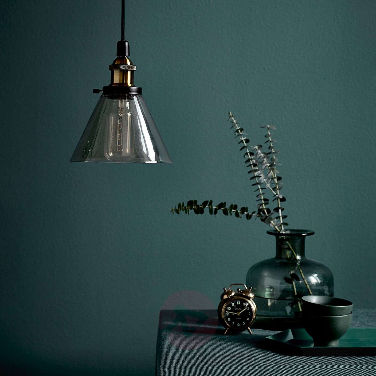Hanging light Disa with amber-coloured lampshade-7006054-01