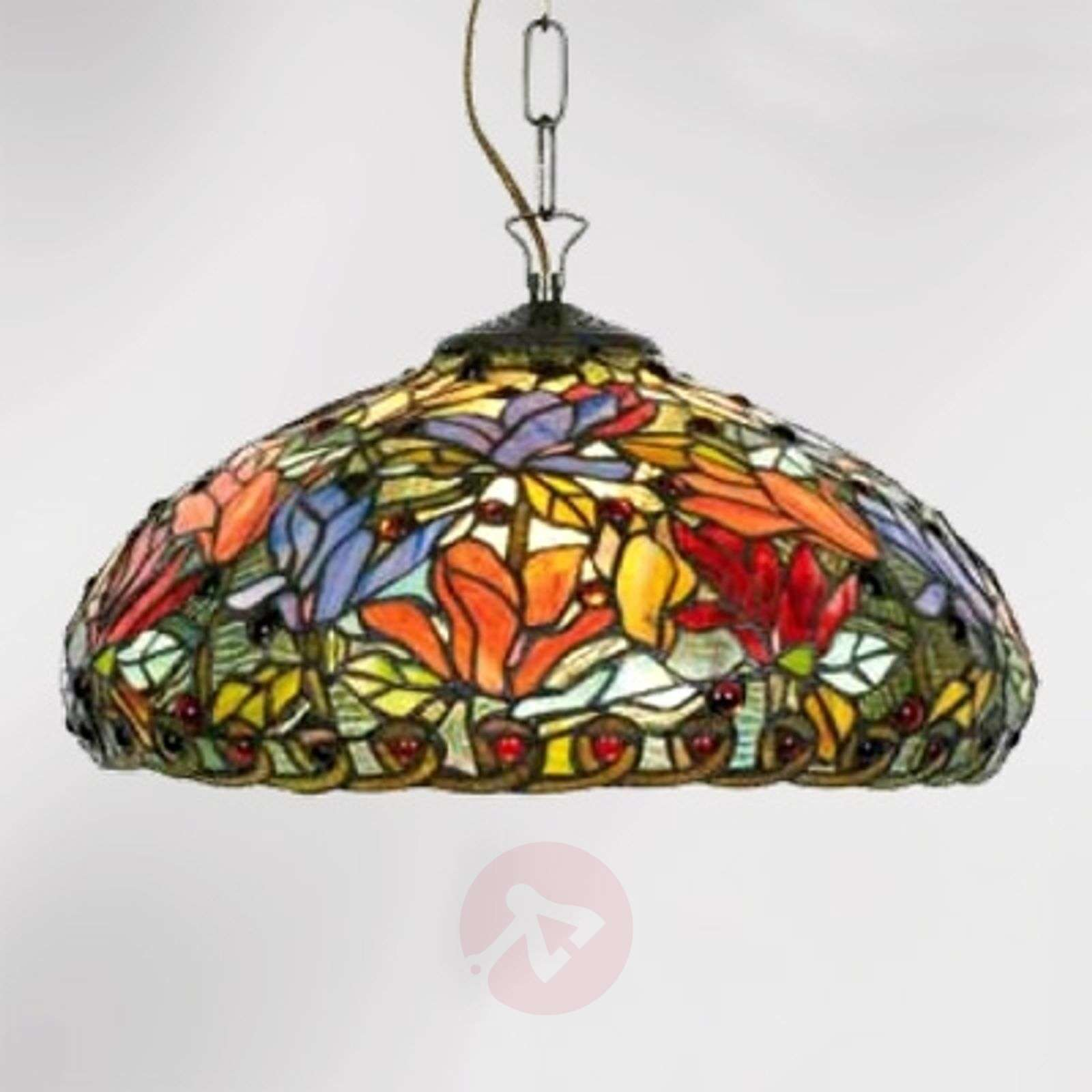 Hanging light Elaine, floral Tiffany style, 2-bulb-1032252-01