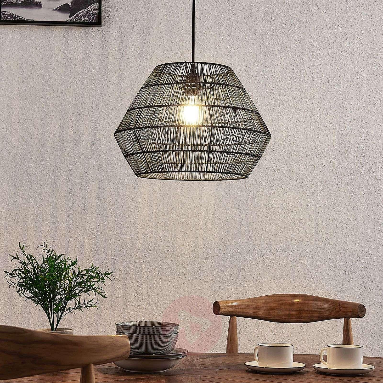 Hanging light Ottavio made of woven paper, black-9624288-02