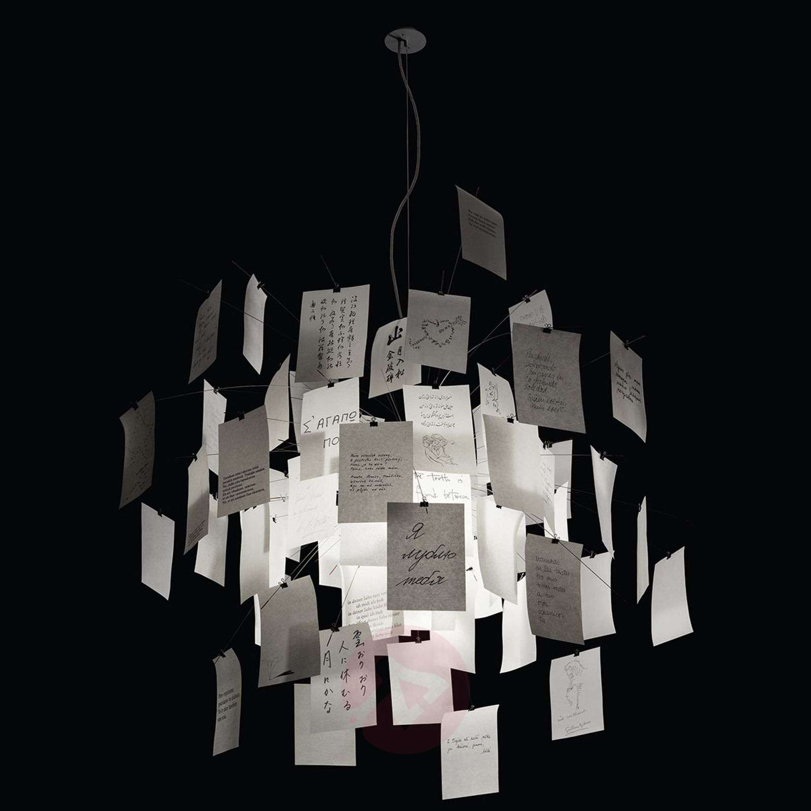 Hanging light Zettel'z 5 with slips of paper-5026056-03