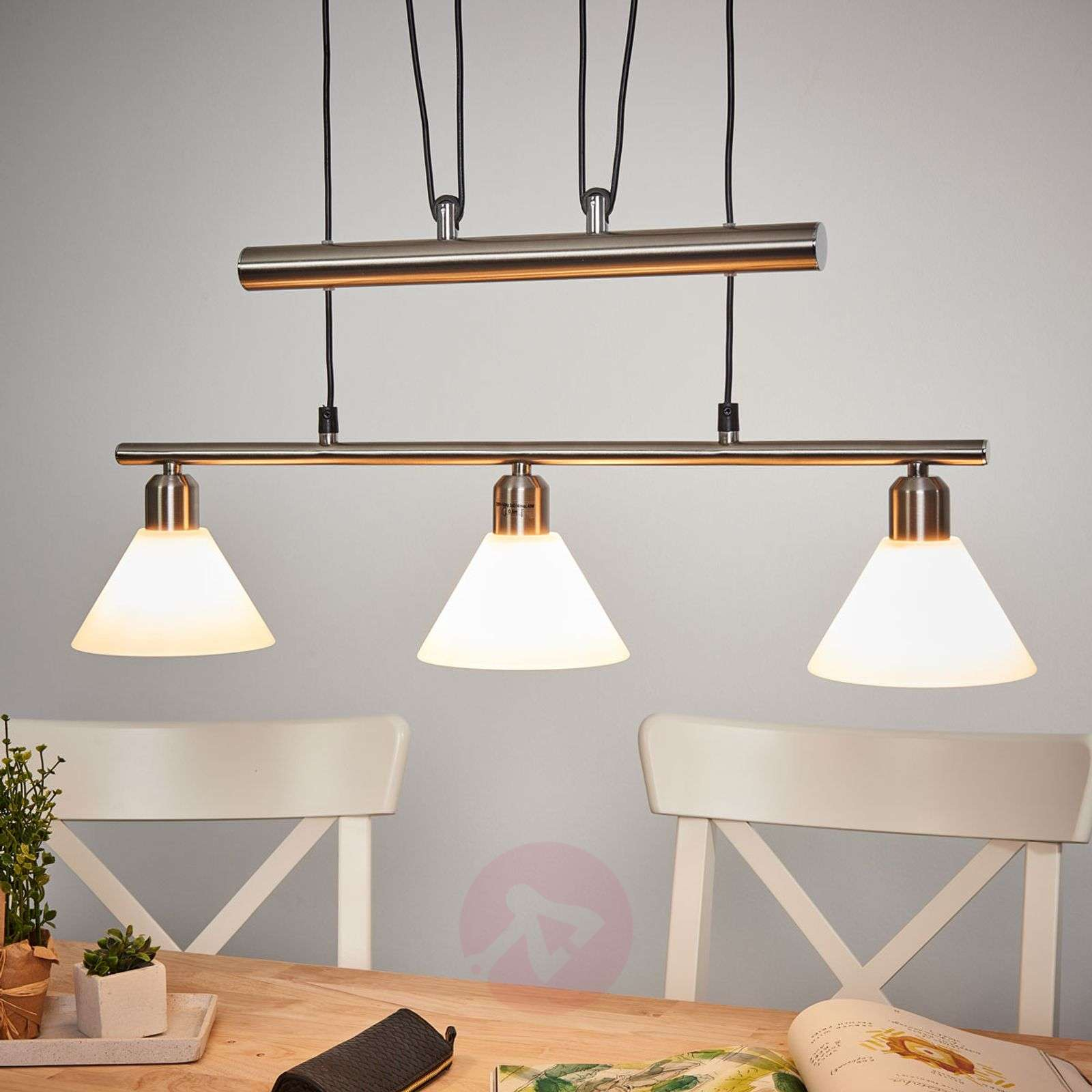 Height adjustable pendant light 3 bulb