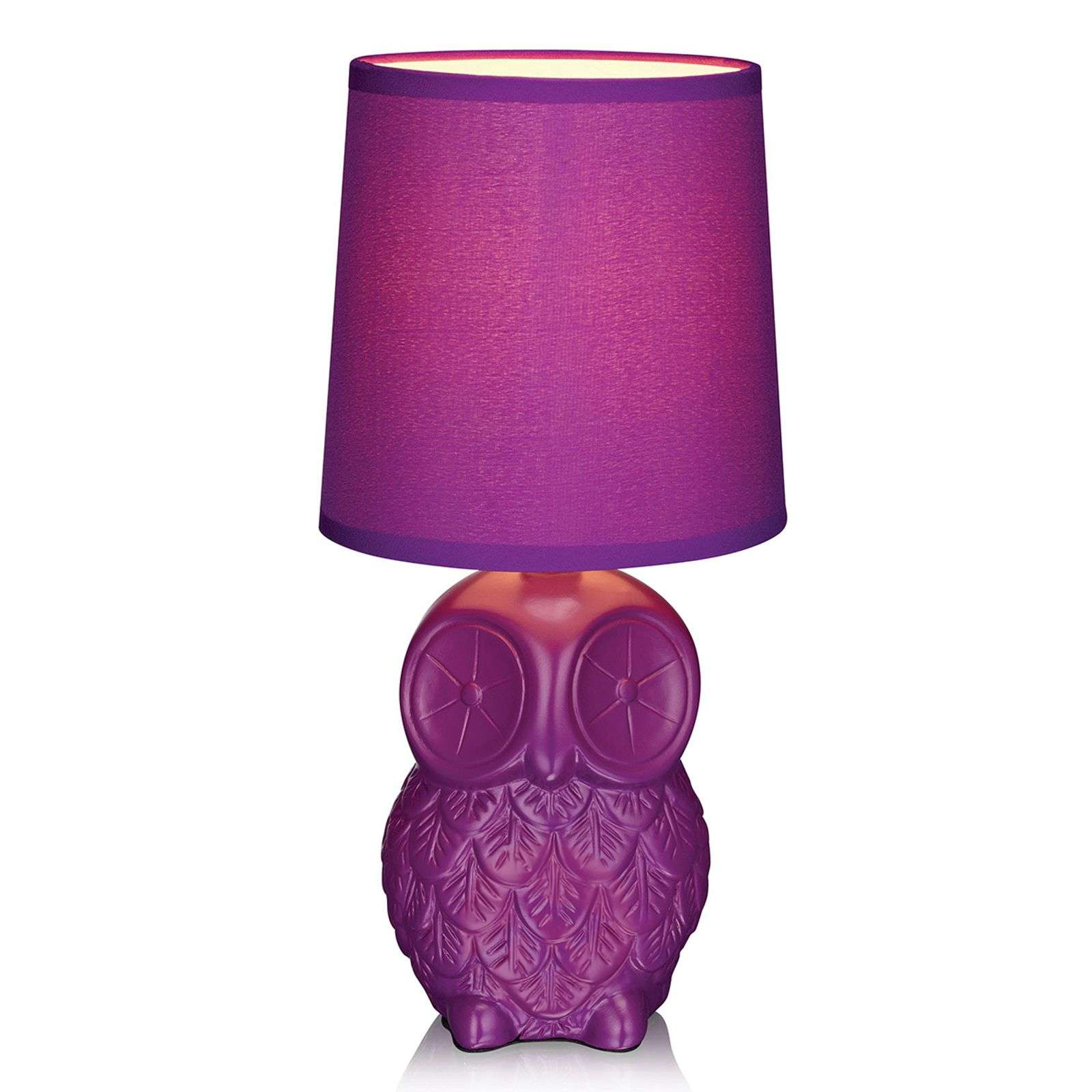Helge owl table lamp with purple fabric lampshade-6506126-01