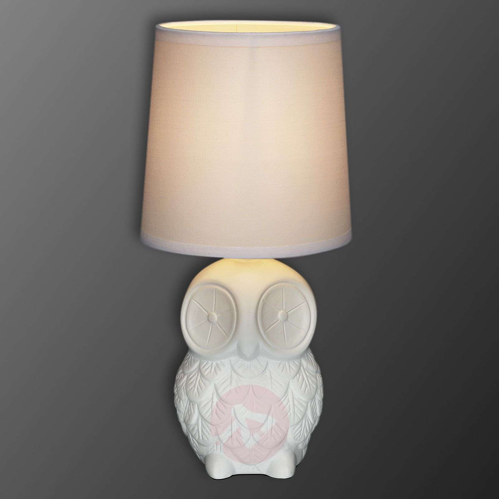 Helge owl table lamp with white fabric lampshade-6506124-01