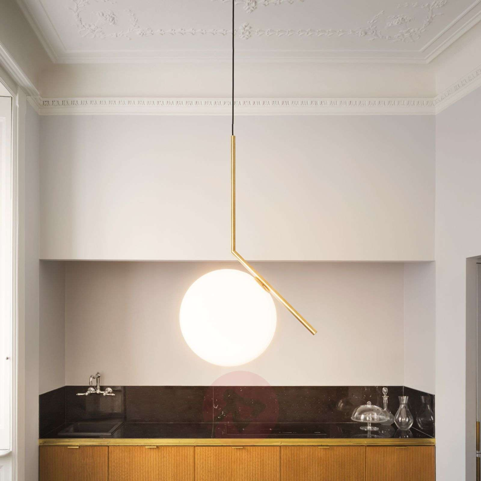 IC S2 Designer Pendant Lamp by FLOS, Brass-3510300-08
