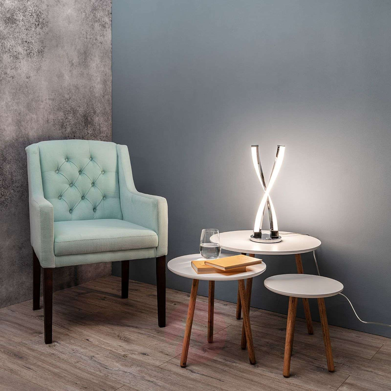 Idana glossy chrome LED table lamp-9652036-01