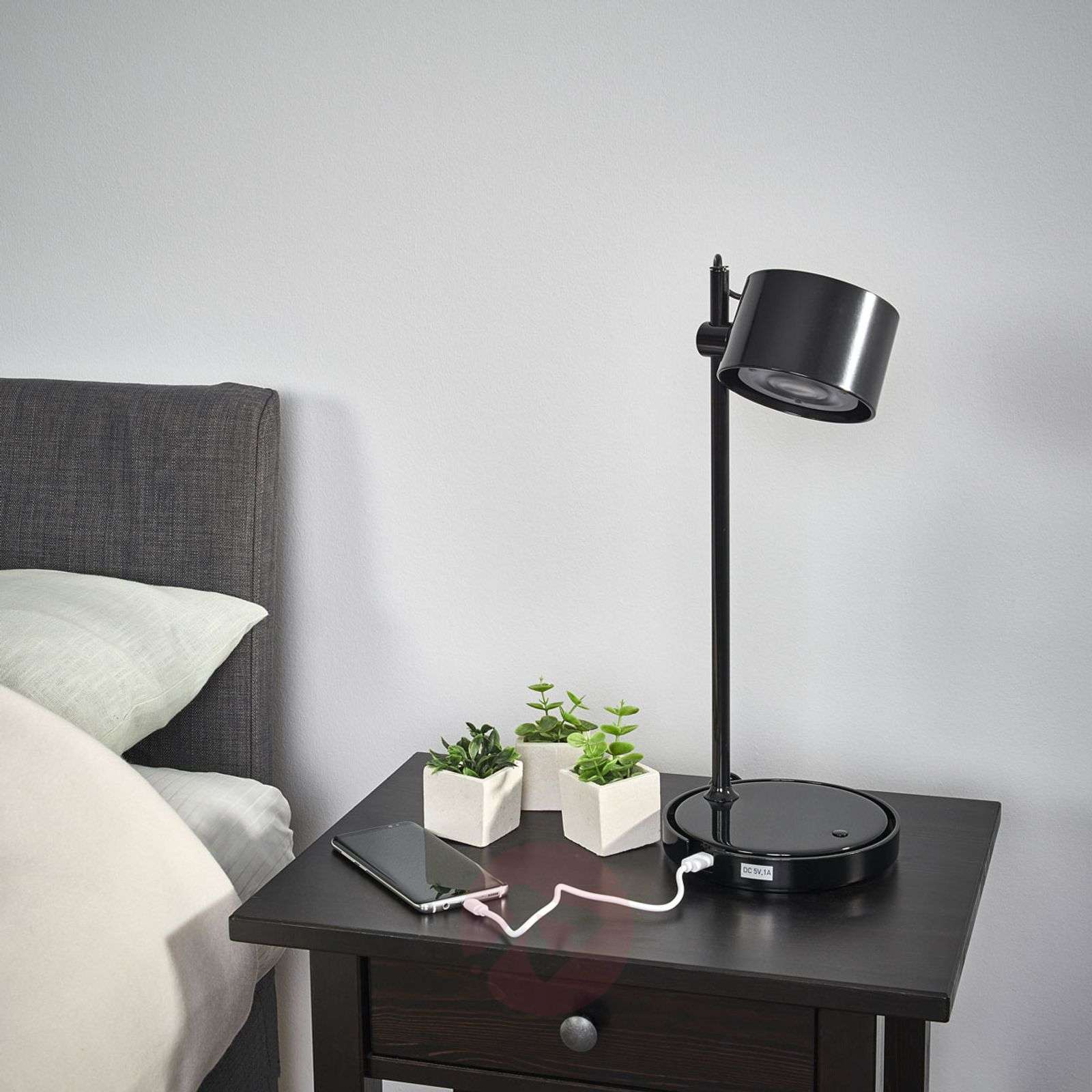 Jasmine black LED iDual table lamp with remote-9038034-01