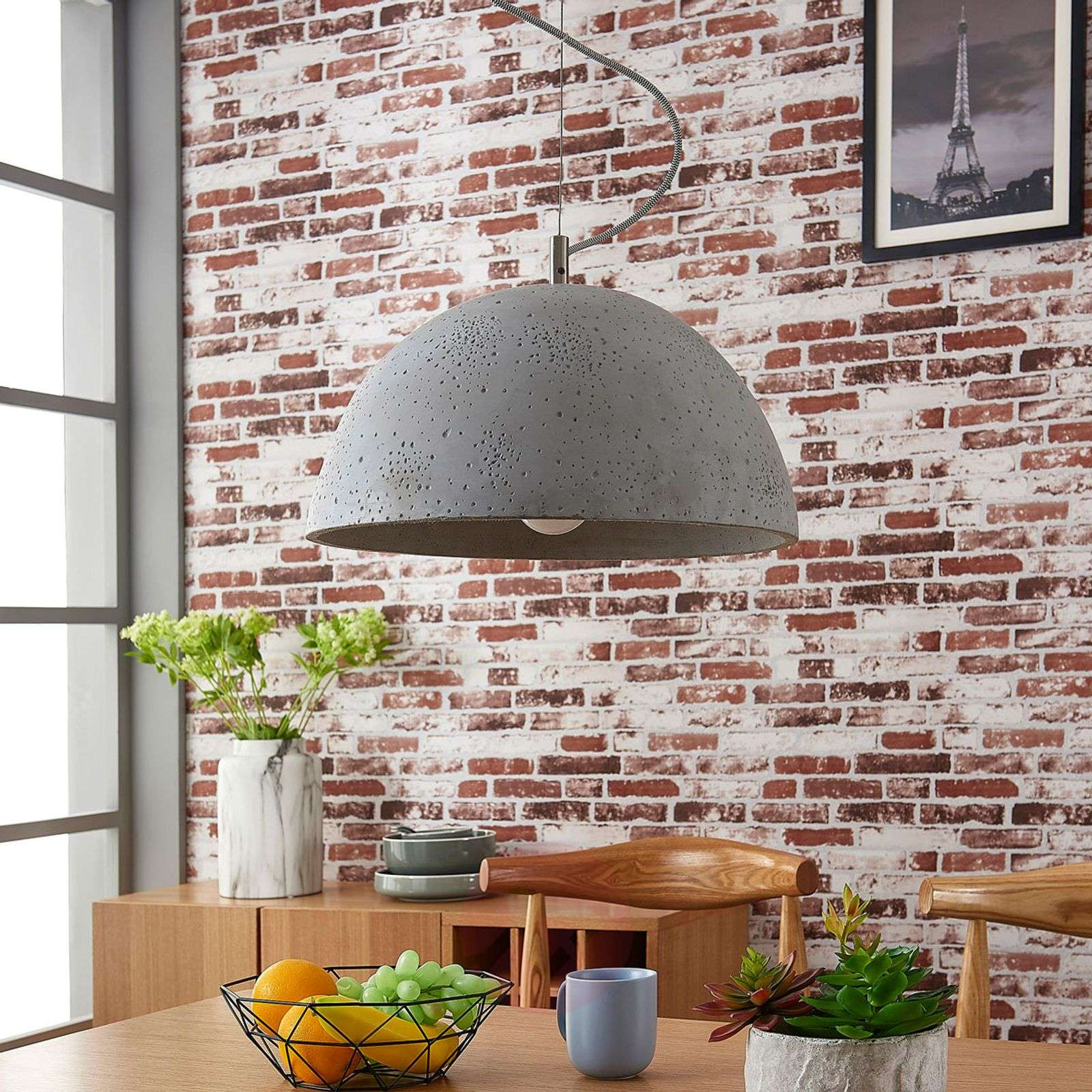 Jelin pendant lamp with concrete lampshade-9621012-01