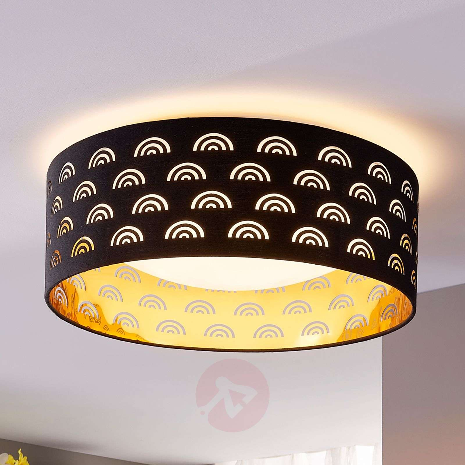 Jorunn fabric LED ceiling lamp, black and gold-9620942-02
