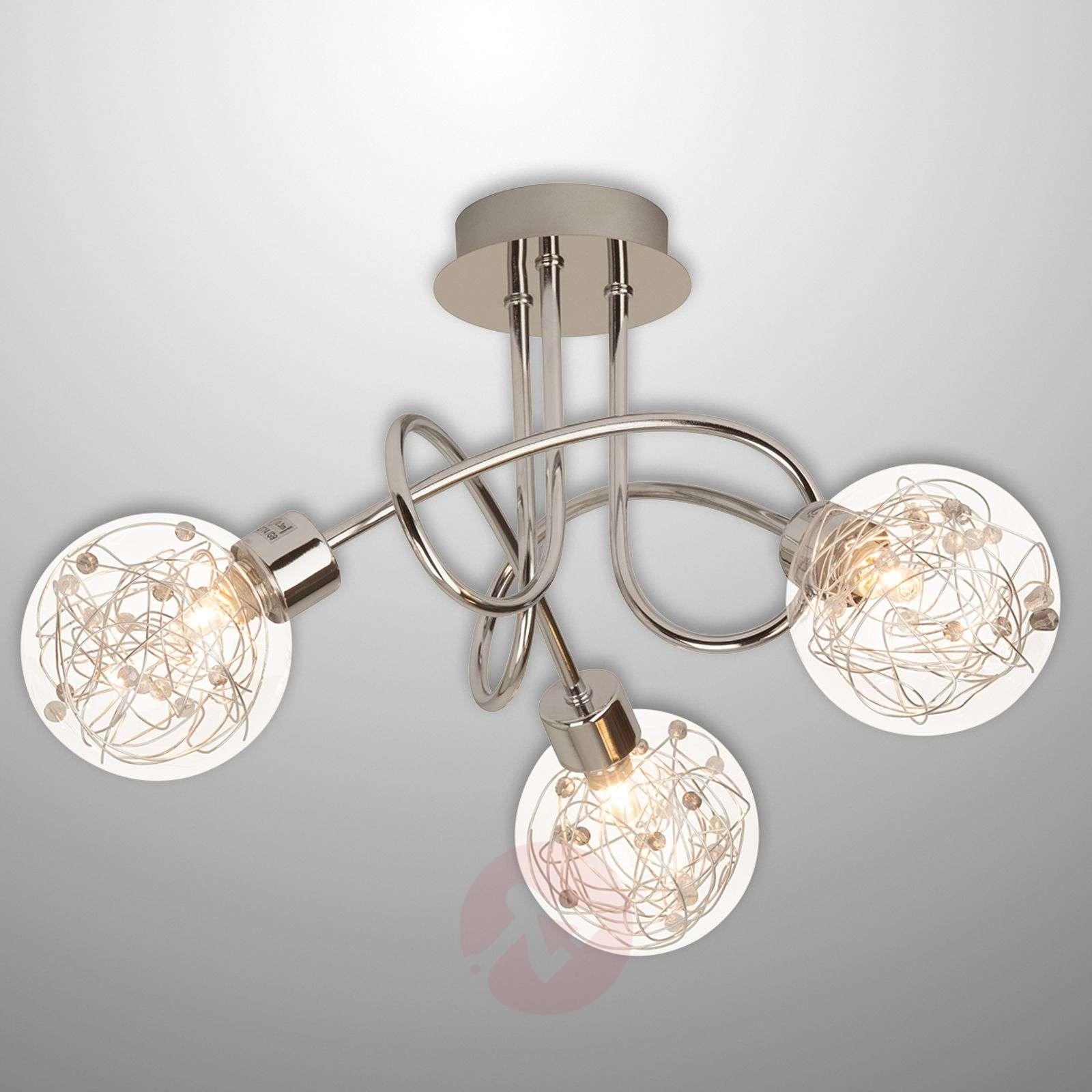 Joya - 3-bulb ceiling light with glass lampshades_1509046_1