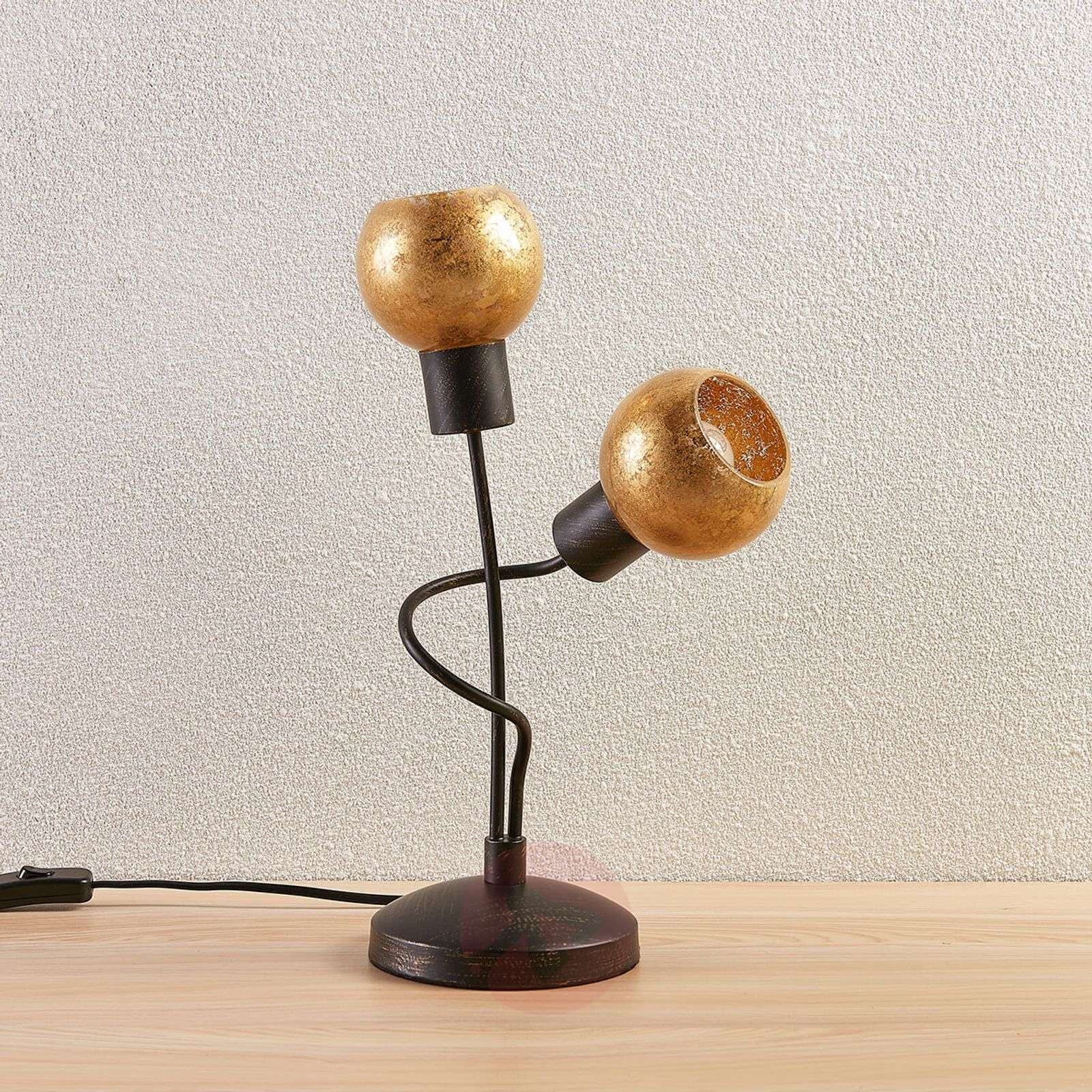Julien 2-bulb table lamp with golden lampshade-9621302-010