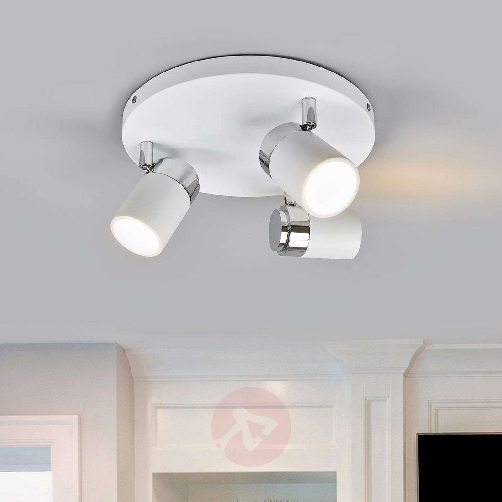 Kardo bathroom circular ceiling spot, white/chrome-9641086-010