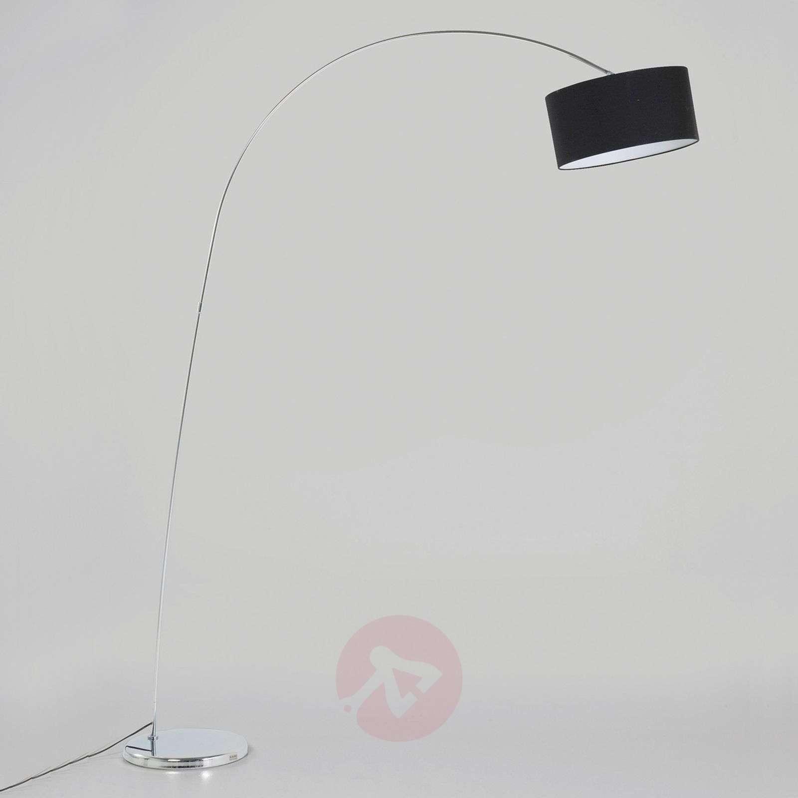 Kare Gooseneck arc floor lamp with black shade-5517011-01