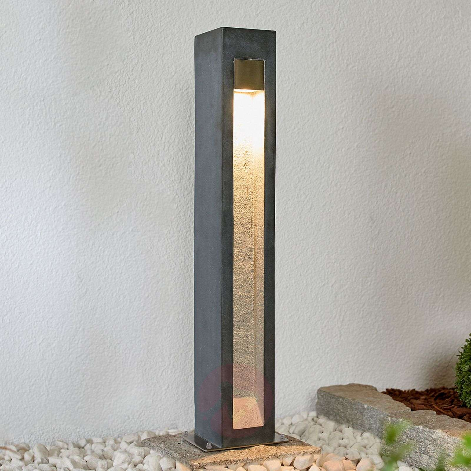 LED bollard light Adejan with basalt rock, 70 cm-9943007-02