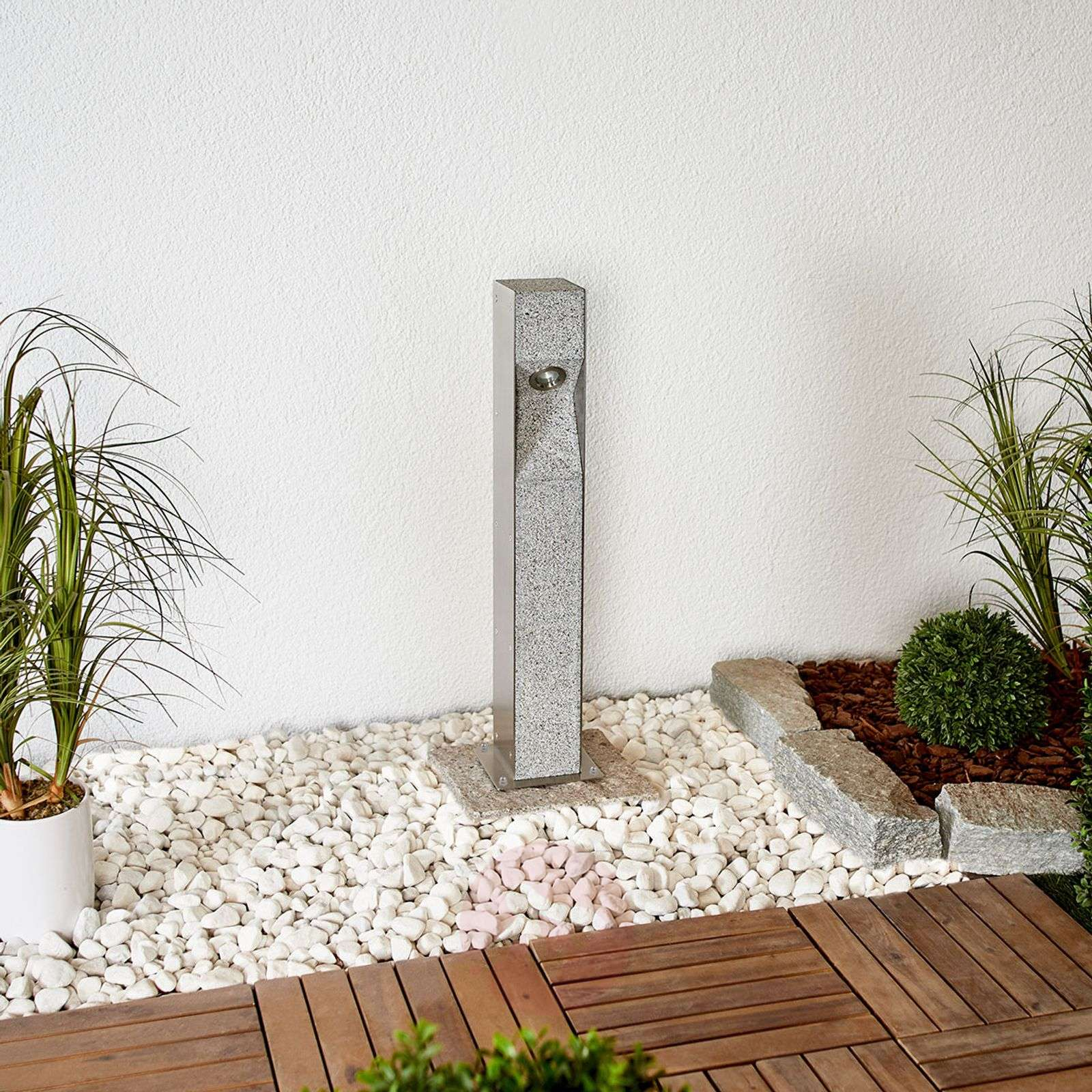 LED bollard light Amelia with granite, 60 cm-9943001-02