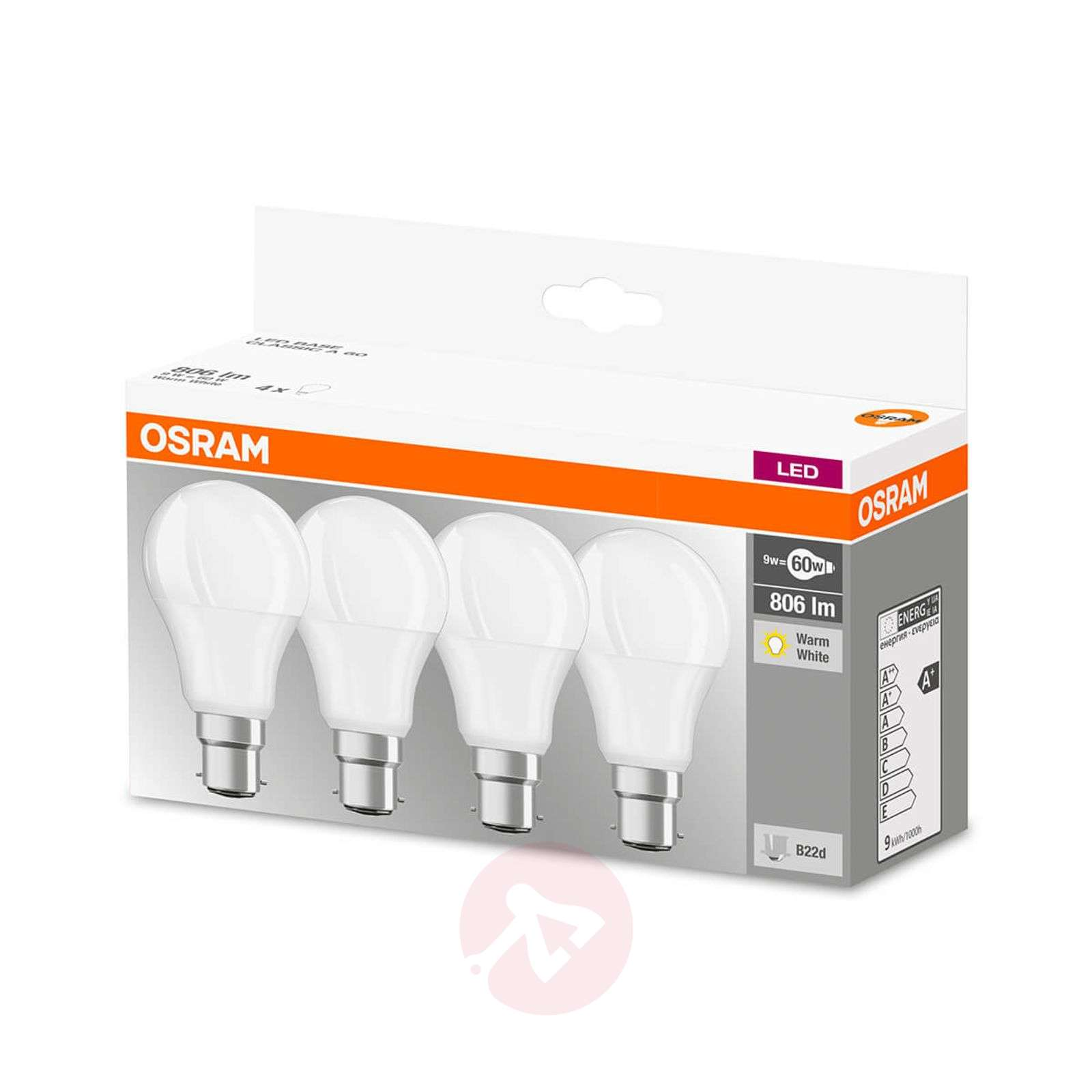 LED bulb B22d 9W, warm white, 806 lumens, set of 4-7262107-01