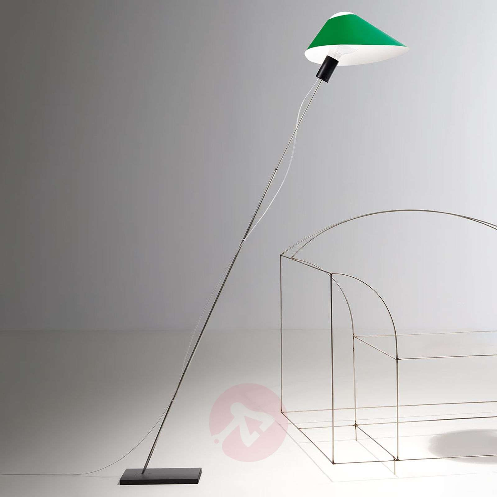 LED floor lamp Glatzkopf with cardboard lampshade-5026116X-01