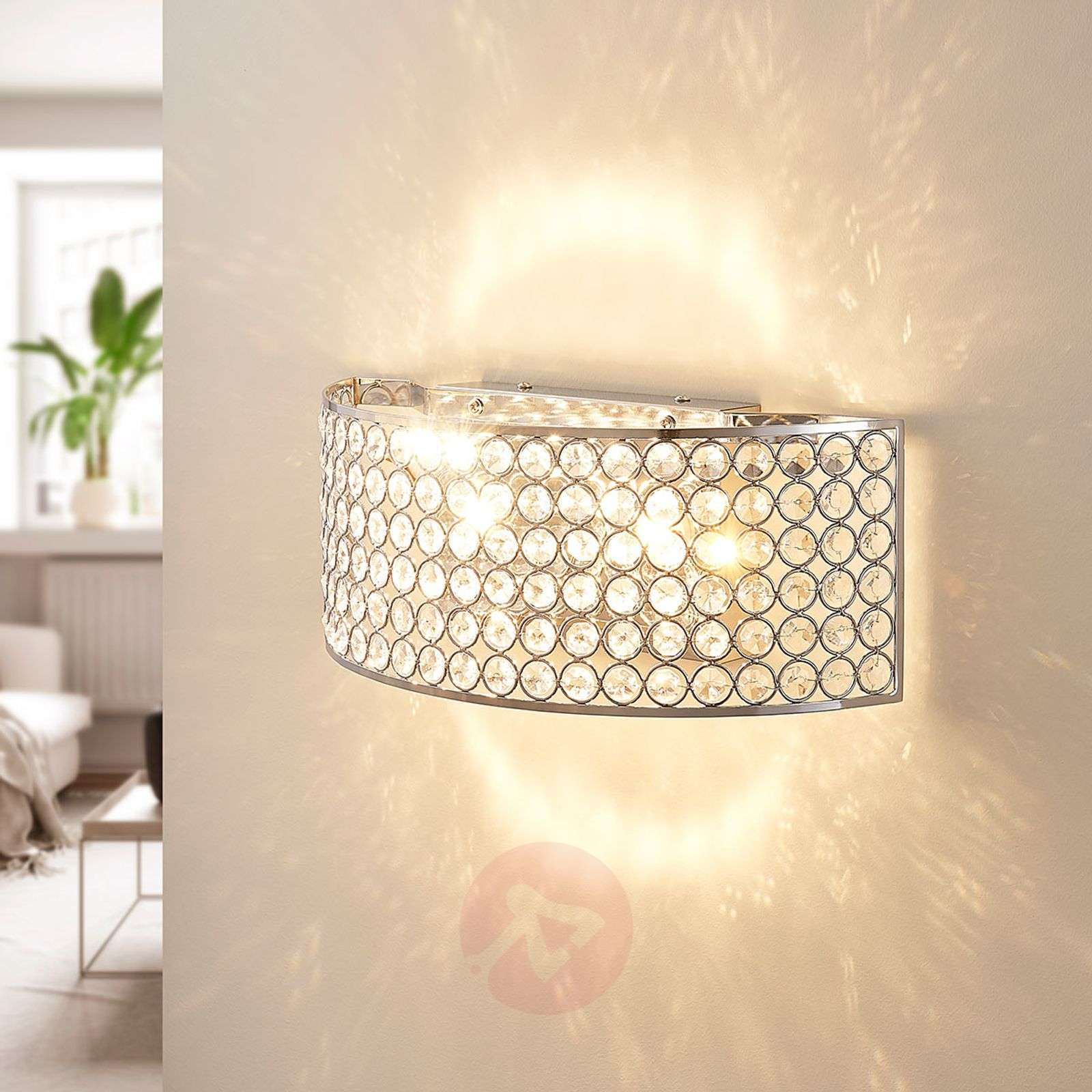 Led Gl Crystal Wall Light Alizee In Chrome