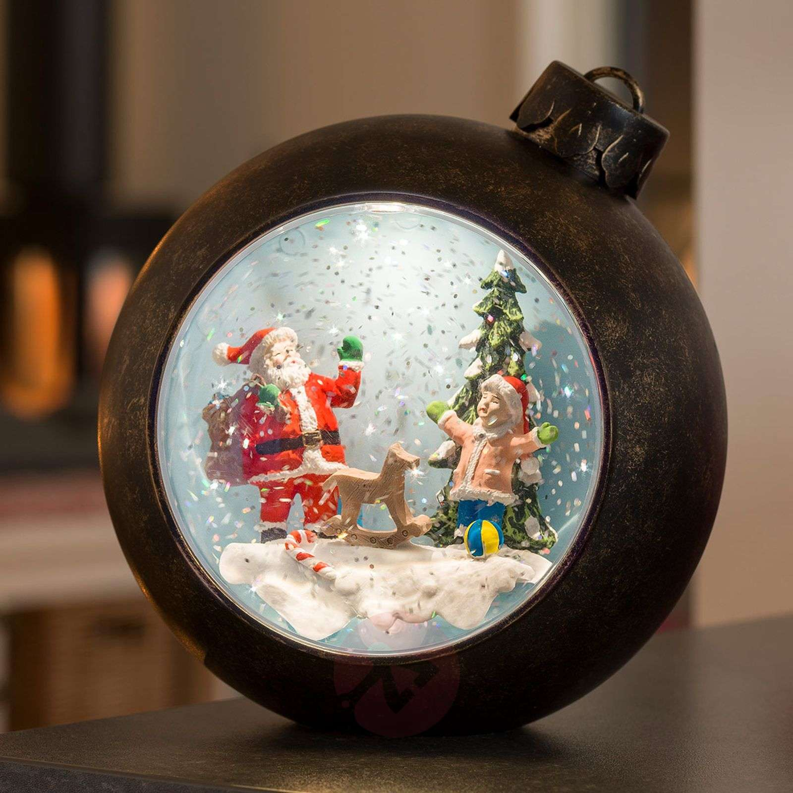 LED globe Santa Claus with children, with water-5524865-01