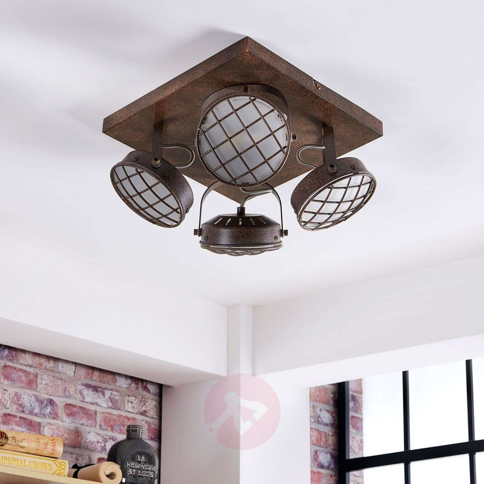 Led Kitchen Ceiling Light Tamin Rusty Brown