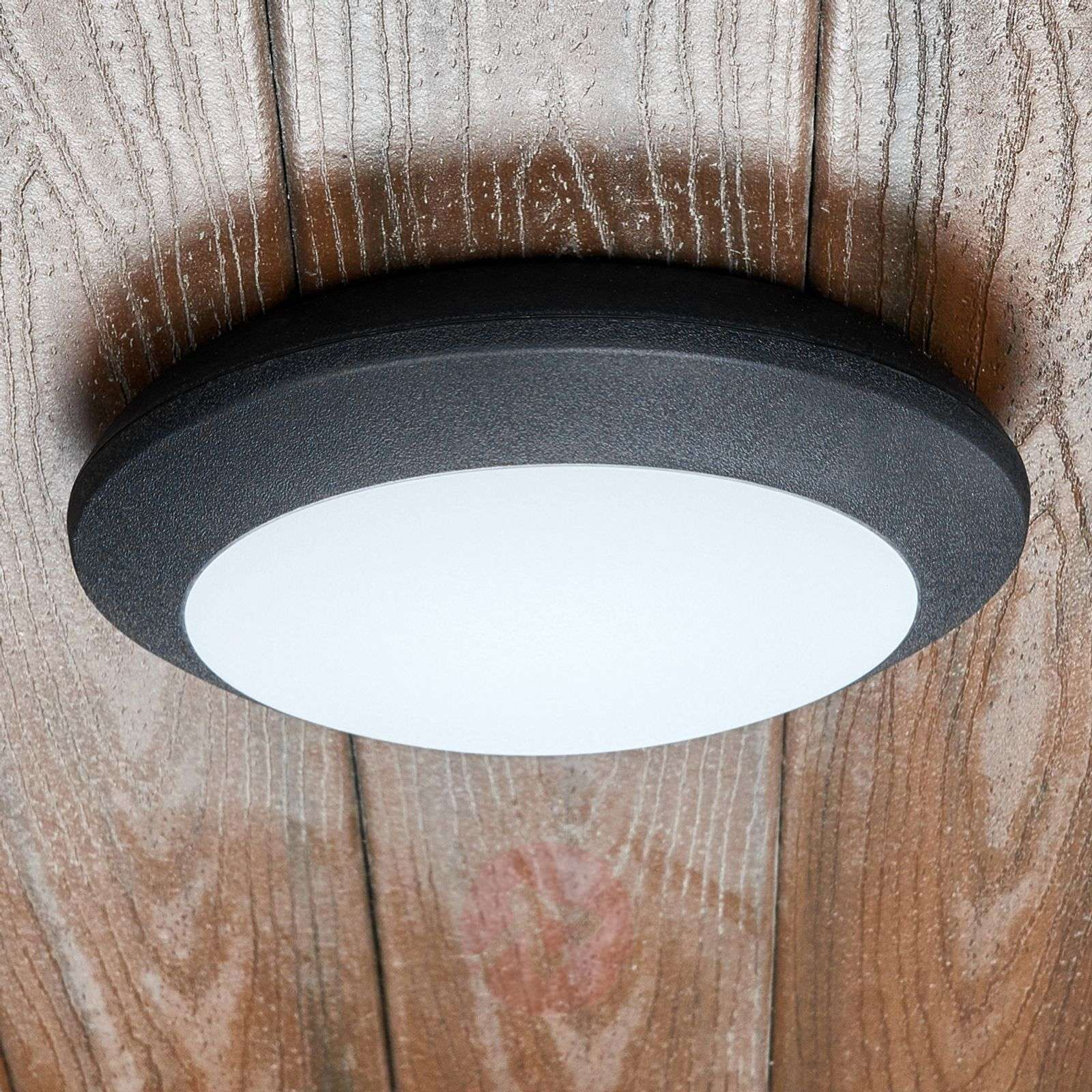 LED outdoor ceiling light Berta, black, 11W 3,000K-3538055-05