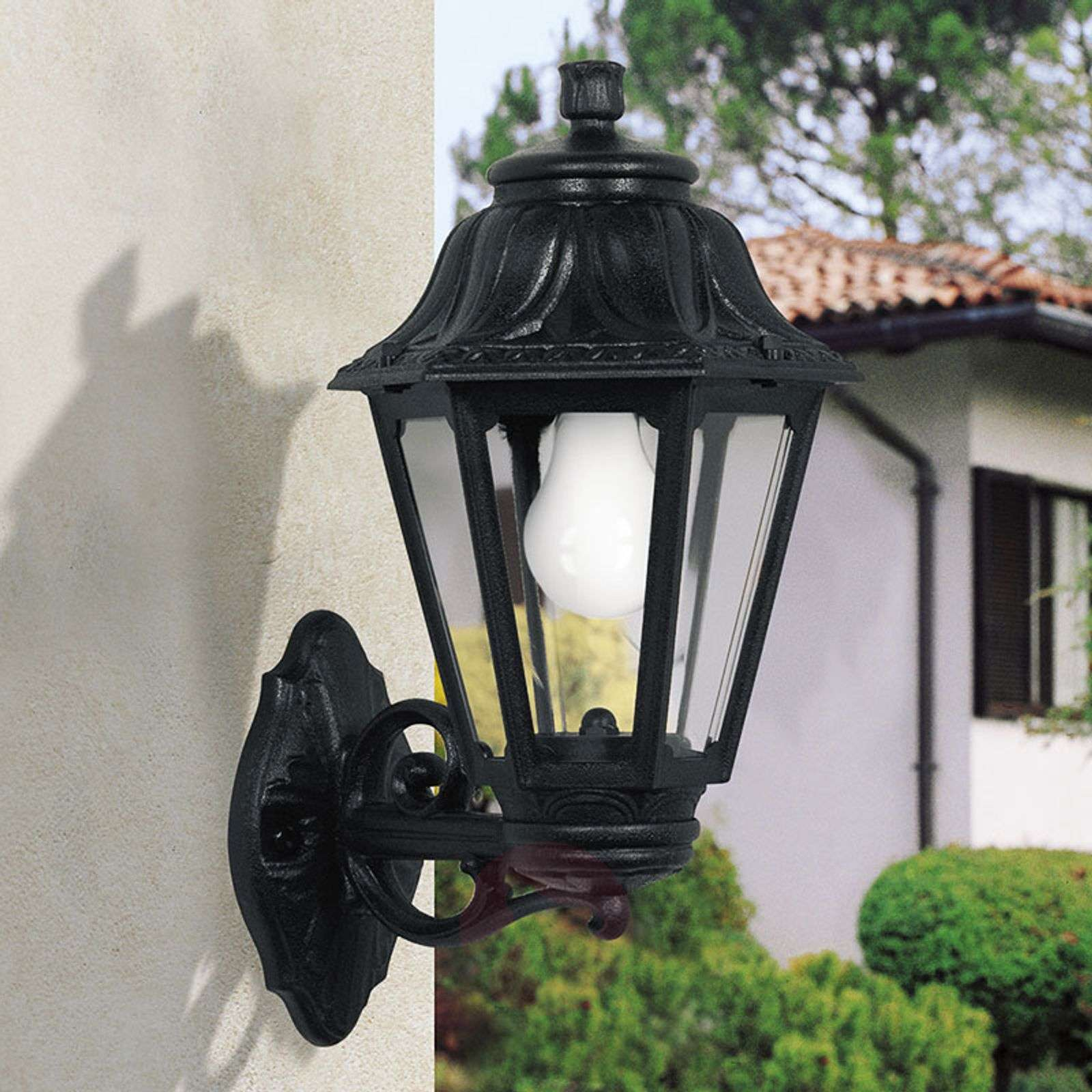 LED outdoor wall lamp Bisso Anna E27 black upwards-3538064-01