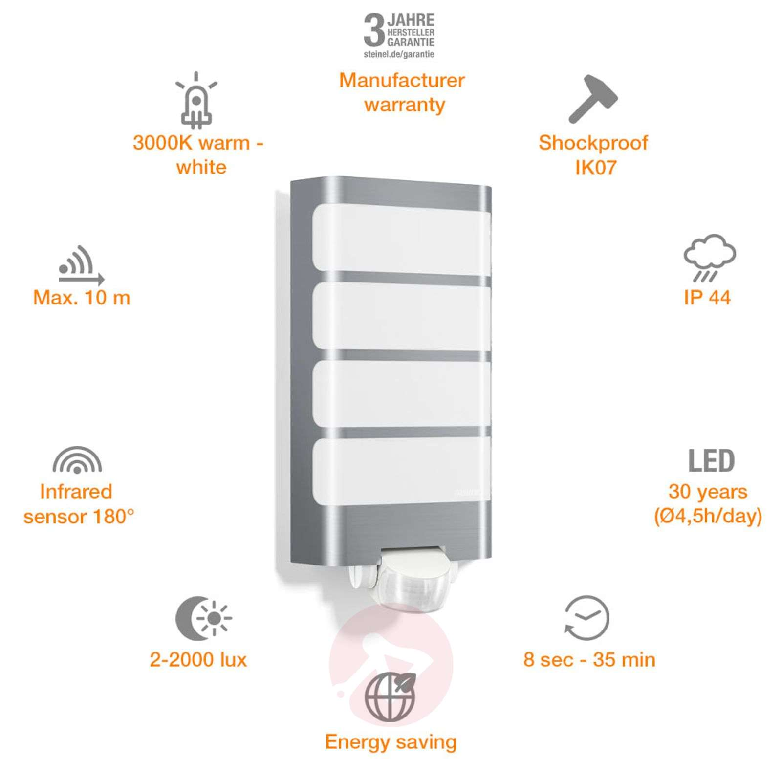 LED outdoor wall light L244 with motion sensor-8505707-01
